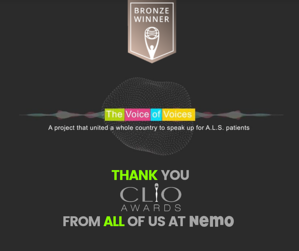 THANK YOU CLIO AWARDS BRONZE NEW YORK CLIOS THE VOICE OF THE VOICE MCCANN UNAPAROLAPERNEMO NEMO SLA SMA facebook